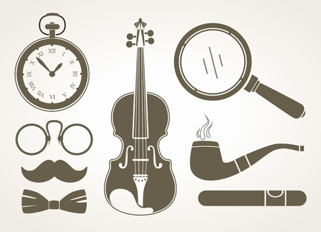 Retro detective accessories  Stock Vector - 18962787