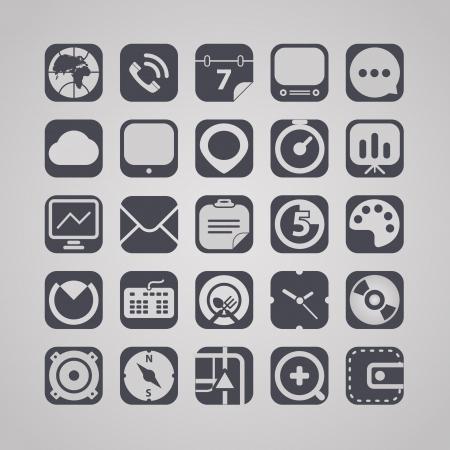 clock radio: gr�fico colecci�n de iconos de la interfaz web