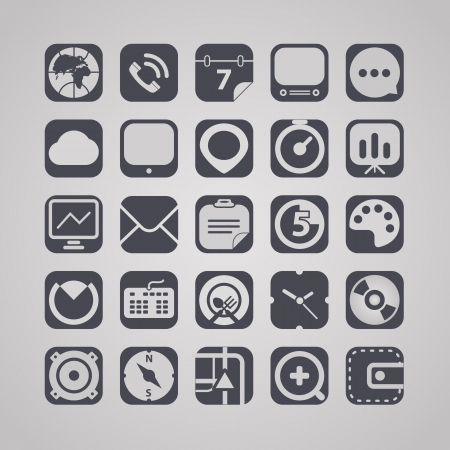 clock radio: web graphic interface icons collection