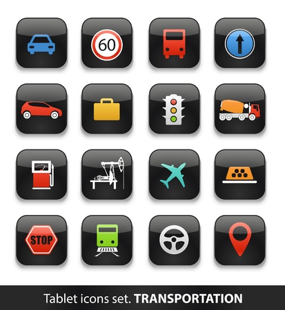 Transportation  Tablet buttons collection isolated on white Vector
