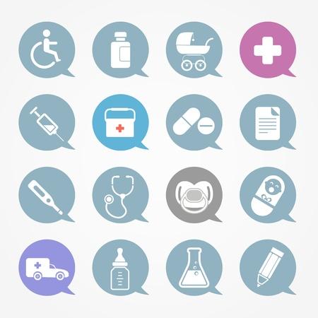 equipos medicos: Iconos de web de medicina conjunto en voz nubes de color Vectores
