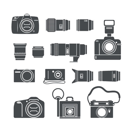 Modern and retro photo technics silhouettes Stock Vector - 18962755