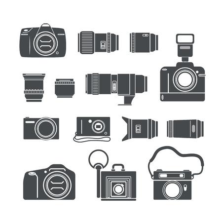 camera lens: Modern and retro photo technics silhouettes
