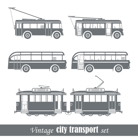 Vintage city transport vehicles set Isolated on white
