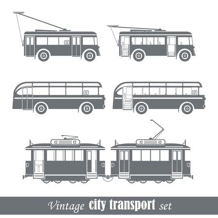 tram: Vintage city transport vehicles set  Isolated on white