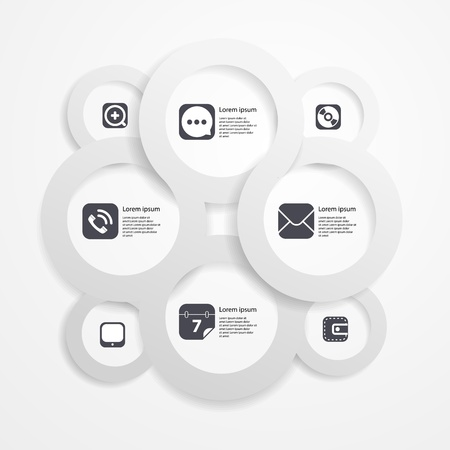 Paper circle infographic web template with media icons Stock Vector - 18962840