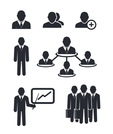 Collection of businessmen silhouettes isolated on white Stock Vector - 18962829