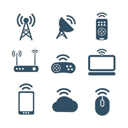 Wireless equipment icons collection isolated on white Vector