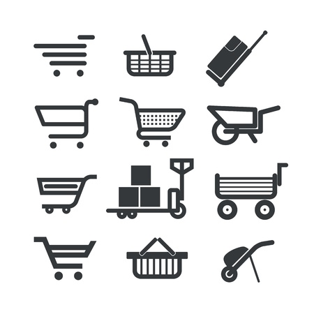 Collection of different trolleys and carts isolated on white Stock Vector - 18962841