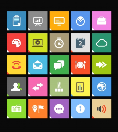 icon web: Web color tile interface template with modern business and social media icons