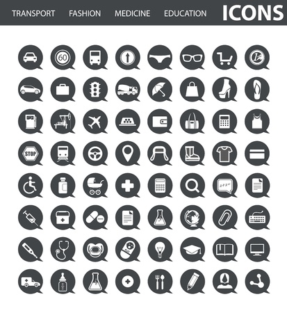 Set of web icons in speech clouds Stock Vector - 18962847