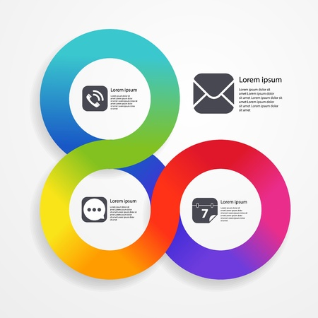 Circle infographic web template of colorful stripe