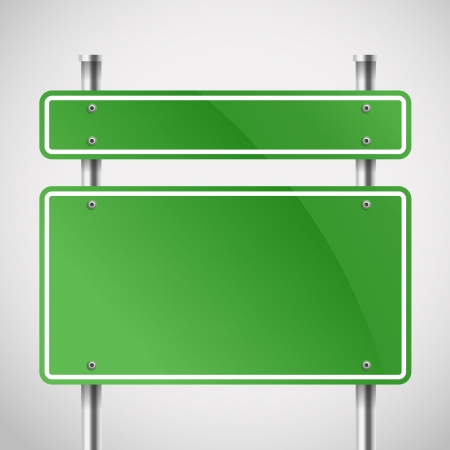 road sign: Blank green metal boards  Template for a text Illustration