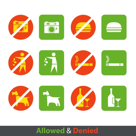 Urban prohibition signs collection isolated on white Vector