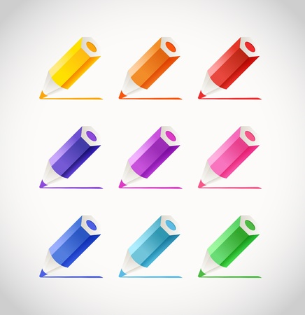 Collection of crayons with color traces Vector