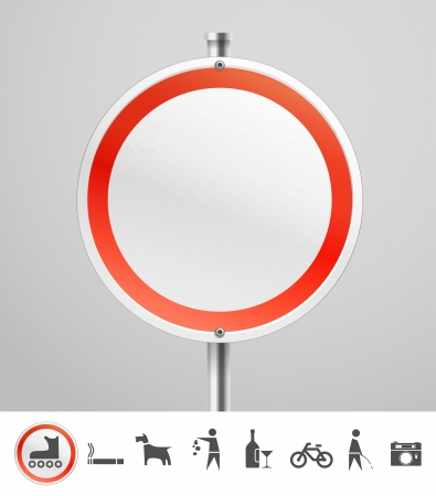 advertising column: Blank round urban sign with collection of silhouettes