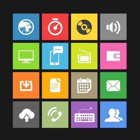 Plantilla de interfaz de baldosas de color Web con iconos modernos