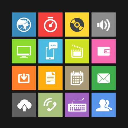 Web color tile interface template with modern icons Stock Vector - 19222324