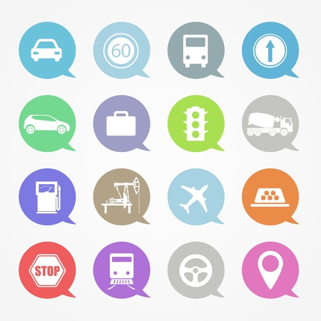 Transportation,  web icons set in color speech clouds Vector