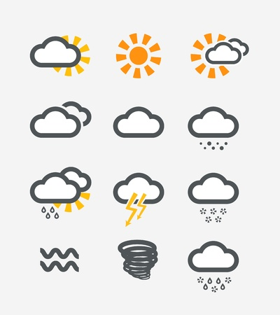 Forecast weather icons set Stock Vector - 19222321