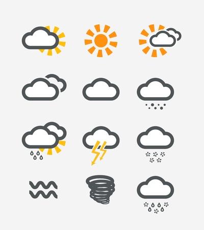 hurricane weather: Forecast weather icons set