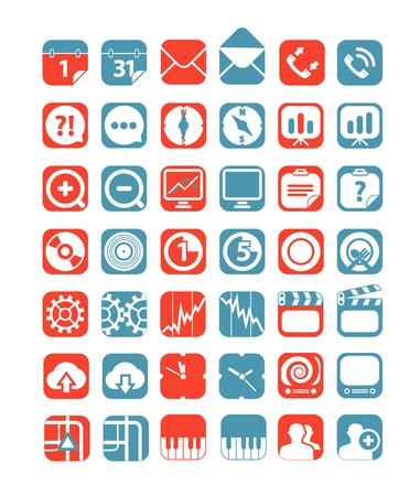 Color tablet interface icons collection Vector