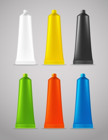 Collection of color plastic tubes Vector