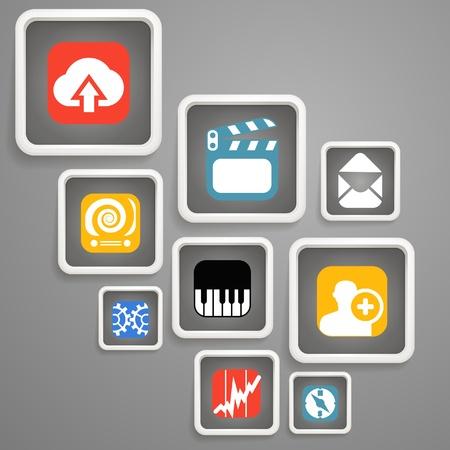 Web media icons in square blocks Stock Vector - 19581642