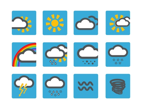 Forecast weather icons set blue buttons Stock Vector - 19581562