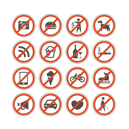 白で隔離都市禁止標識コレクション  イラスト・ベクター素材