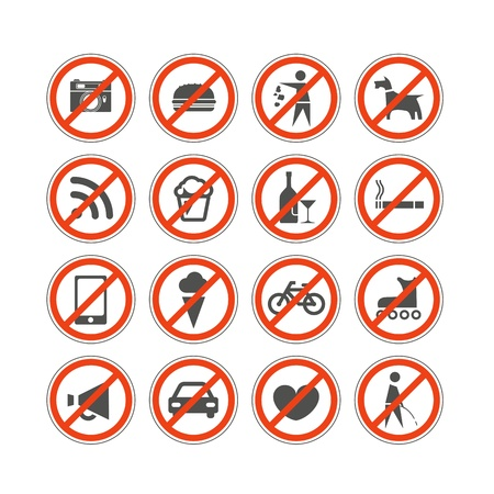 no talking: Urban prohibition signs collection isolated on white