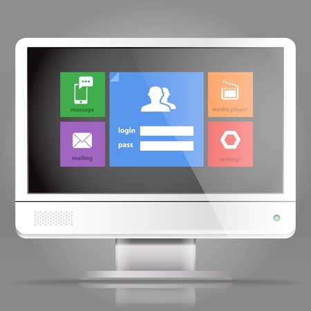 Modern lcd monitor with tile interface Vector