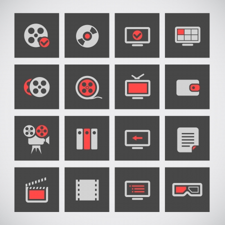 Cinema web silhouettes on grey buttons Vector