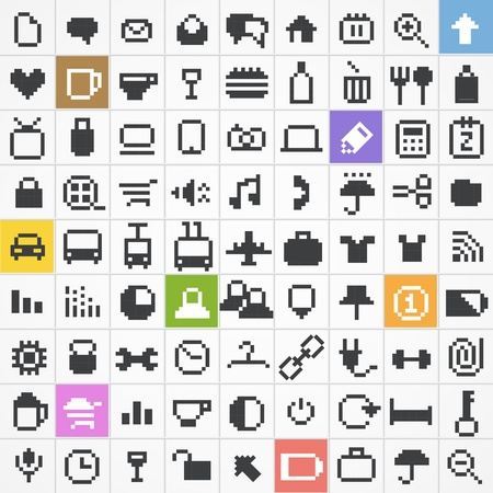 pixelart: Business, travel, miscellanous, shopping, computing, media icons set