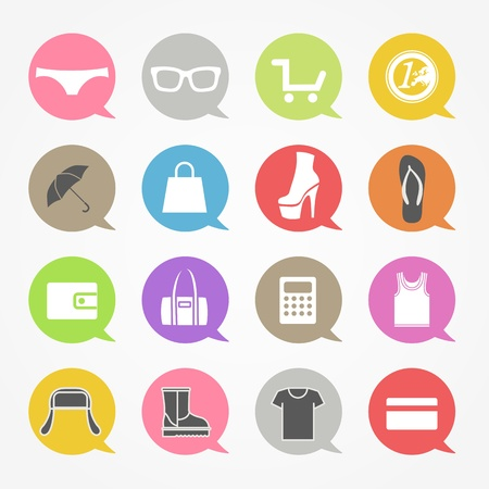 Shopping web icons set in color speech clouds Stock Vector - 19749978