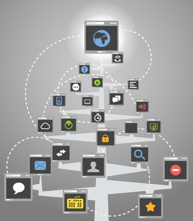 Abstract web community tree scheme Stock Vector - 19750019