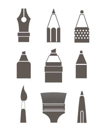 Paint and writing tools silhouettes collection isolated on white Stock Vector - 19749962