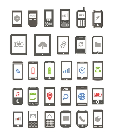 Abstract different mobile gadgets with icons on screen