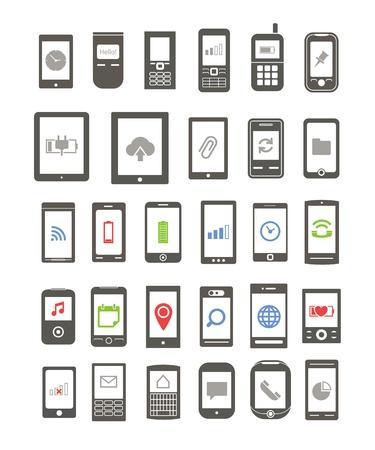 agenda electr�nica: Resumen diferentes dispositivos m�viles con iconos en pantalla Vectores