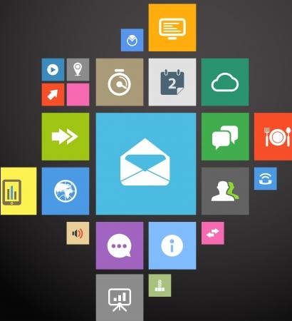 sistema: Icono de color plantilla de interfaz en negro