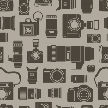 vintage camera: Modern and retro photo technics seamless background Illustration