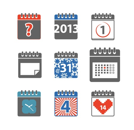 Different styles of color calendar web icons collection Stock Vector - 20058114