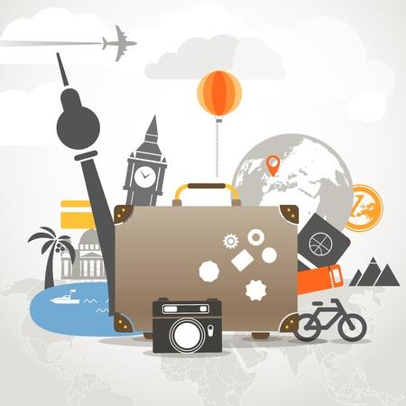 休暇旅行と古いバッグ組成コンセプト