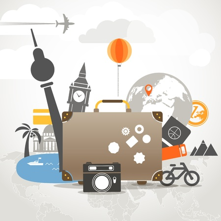 Vacation travelling composition concept with old bag Stock Vector - 20868740