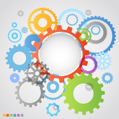 time drive: Color different gear wheels abstract background Illustration