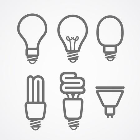 ライトのランプのアイコンをコレクション  イラスト・ベクター素材