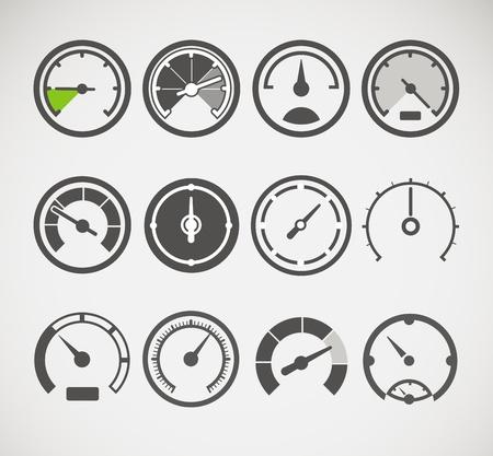 compteur de vitesse: Différents slyles de vecteur de collecte des compteurs de vitesse Illustration