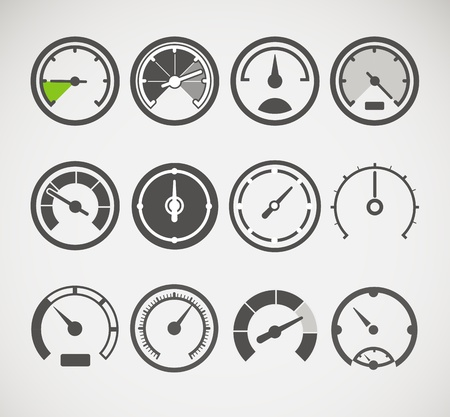 speed limit: Different slyles of speedometers vector collection Illustration