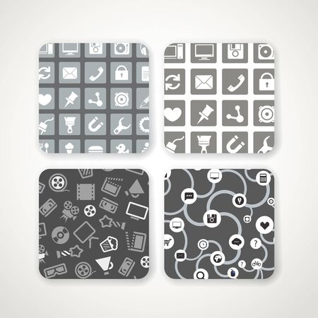 Different patterns with icons set Vector