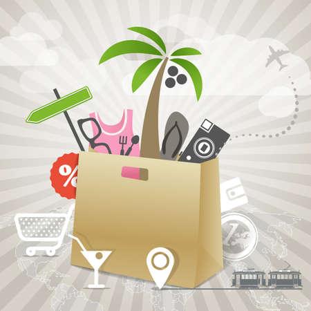 beach bag: Travel illustration  Season discount tour